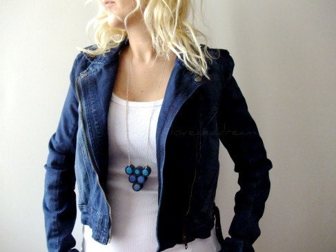 Blue Triangle Fiber Art Necklace