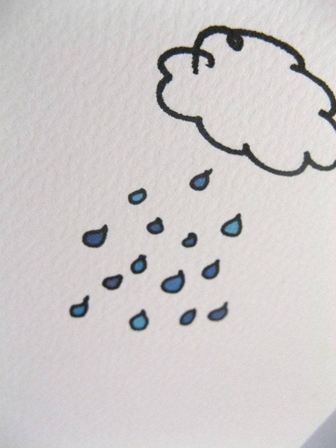 Rain drops rain clouds any occasion card - by Parsy @Etsy