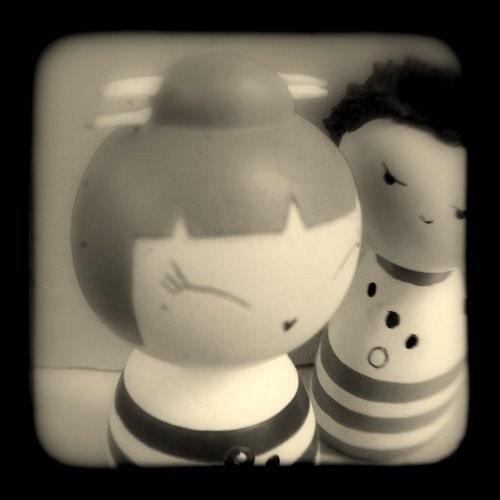 Whimsical Fine Art Black White 4 x 4 TtV Photo Print Kokeshi Dolls Stripes Romance Love