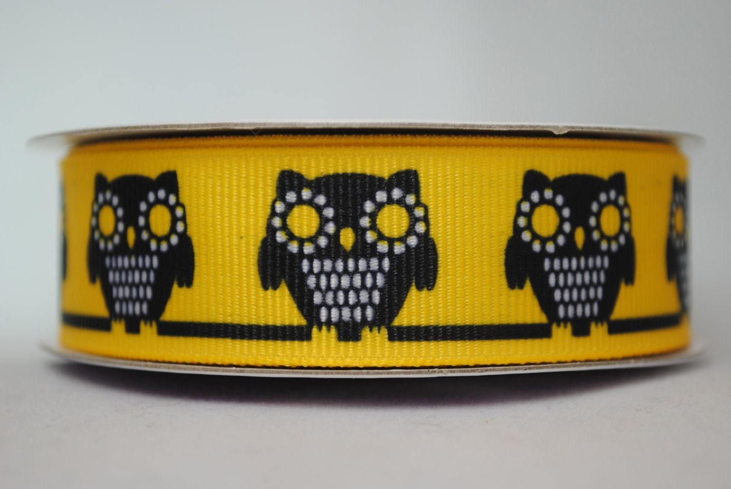 Owls, Yellow, Black and White -  2 yards, 7/8 inch wide - superbsupplies
