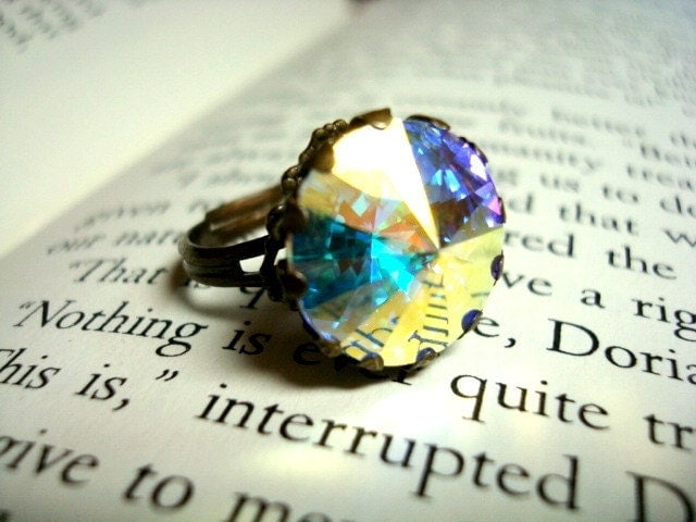 Handcrafted vintage style Swarovski aurora borealis crystal rivoli ring with antique brass adjustable band, prism, elegant