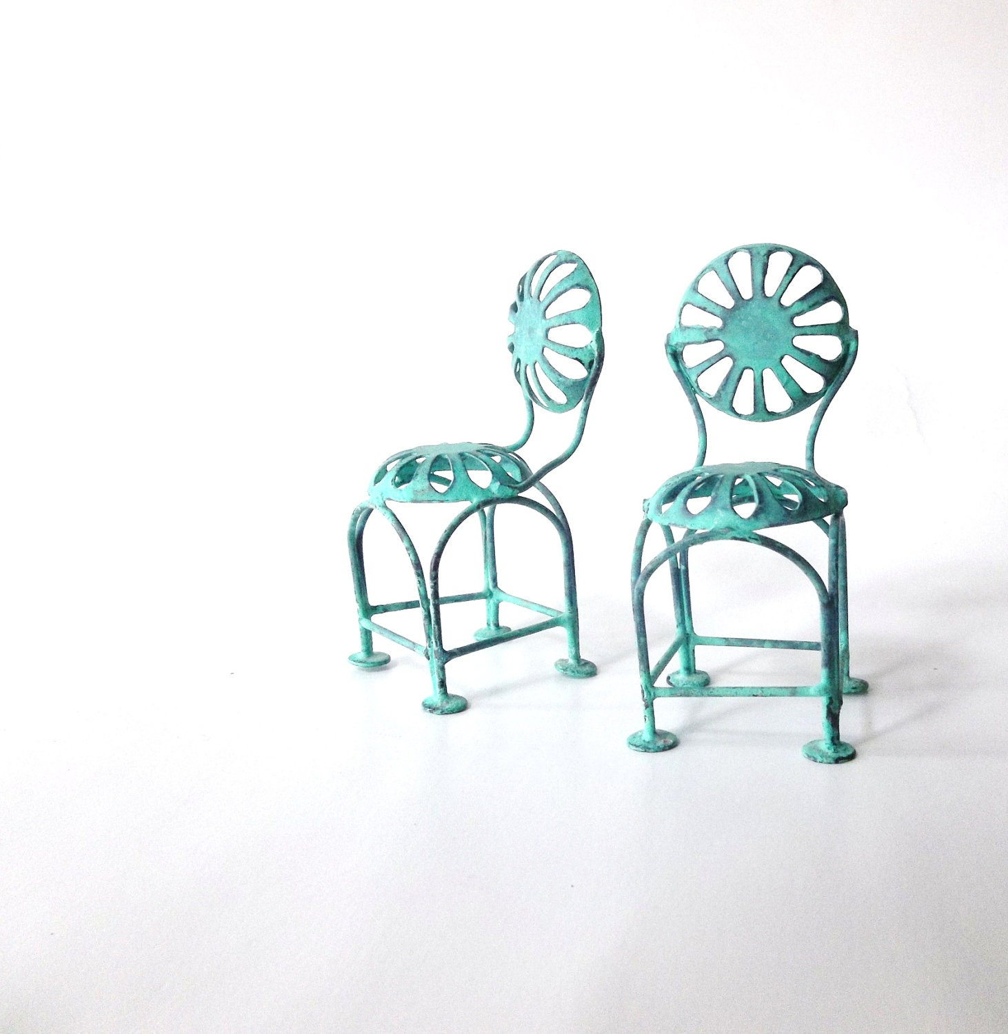 Bistro Cafe Doll House Chairs. Teal Aqua. Miniature Wrought iron Beach Chairs. Photography Print . Home Decor Wall art - 3vintagehearts