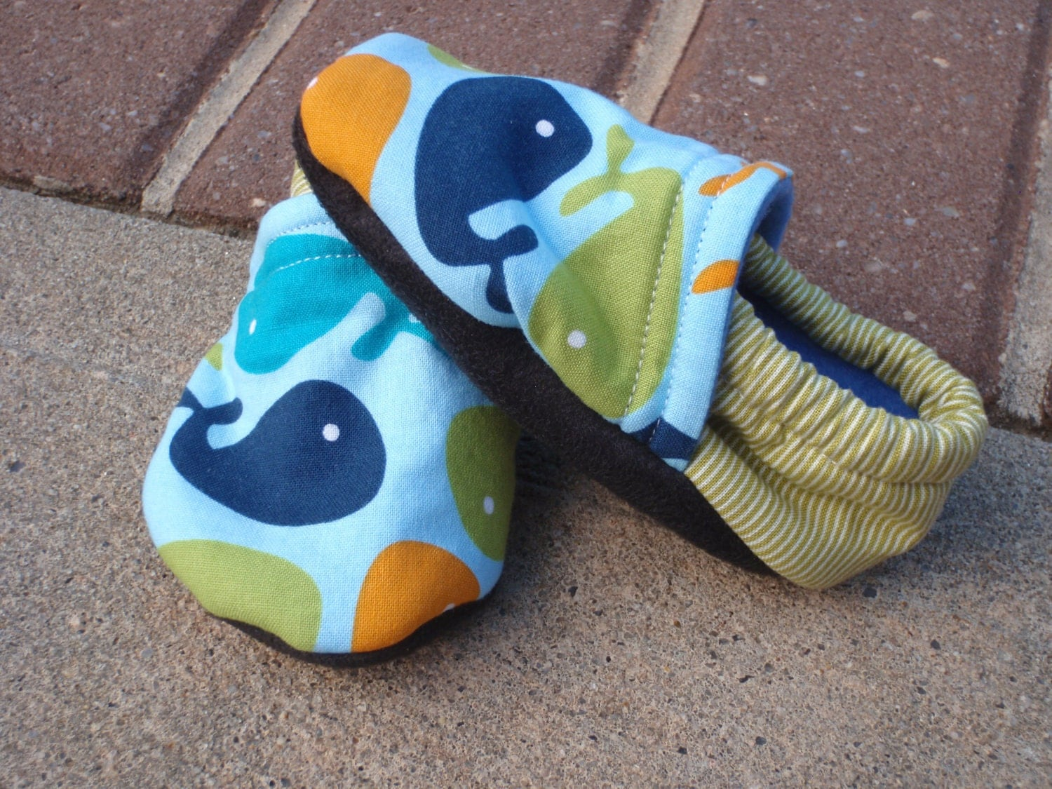 Baby Boy Shoes w Whales Blue Green and by littlehouseofcolors