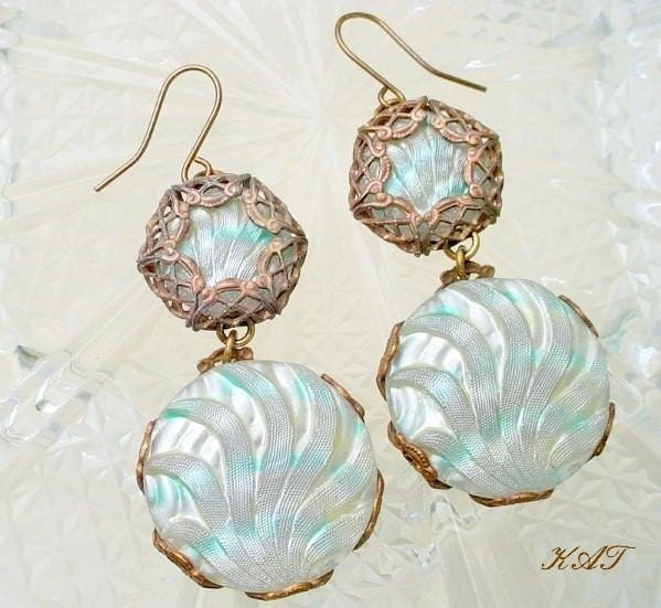 A Hint of Aqua - Brass Filigree Wrapped Earrings with Vintage Czech Button Glass - Katofmanyolors