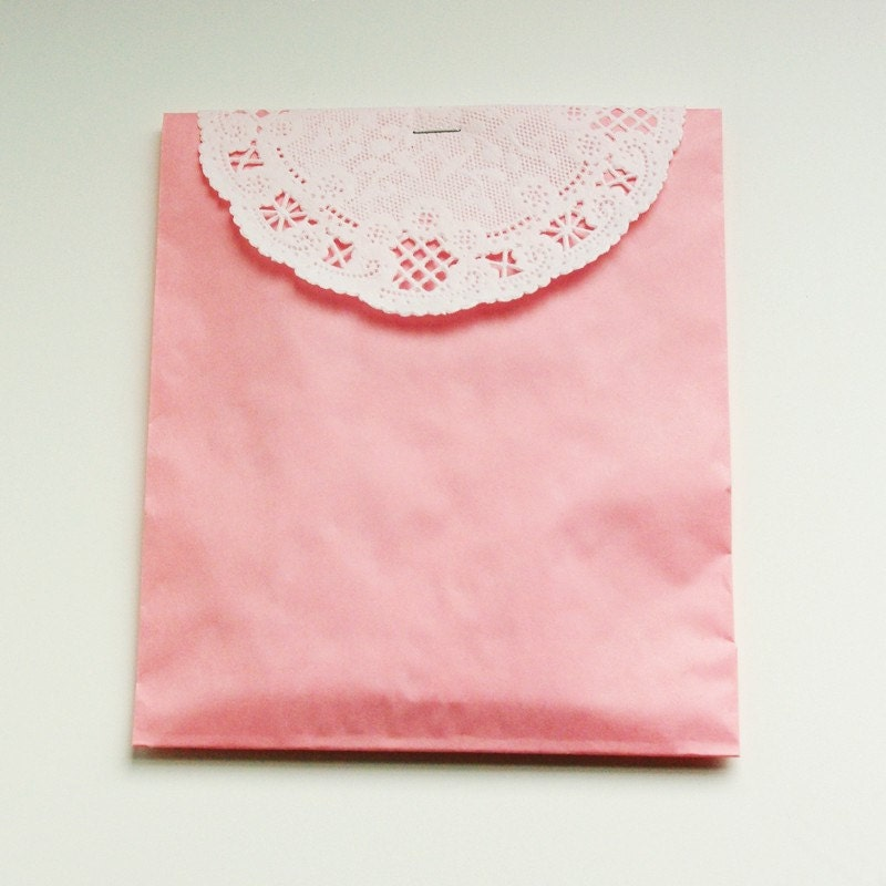 Pink Glassine Lined Bags and Doilies - Set of 10