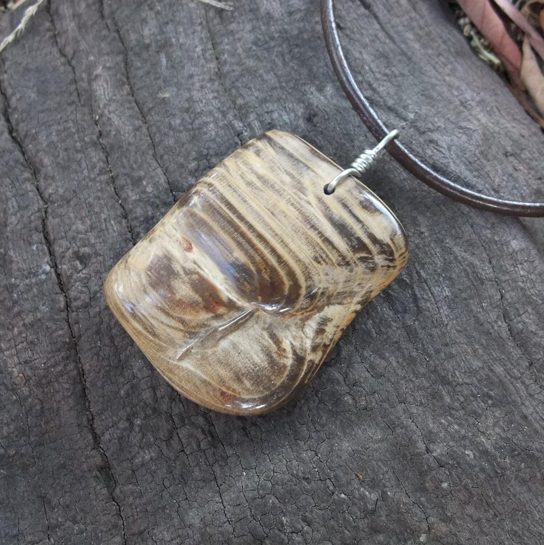 items similar to petrified wood pendant necklace large