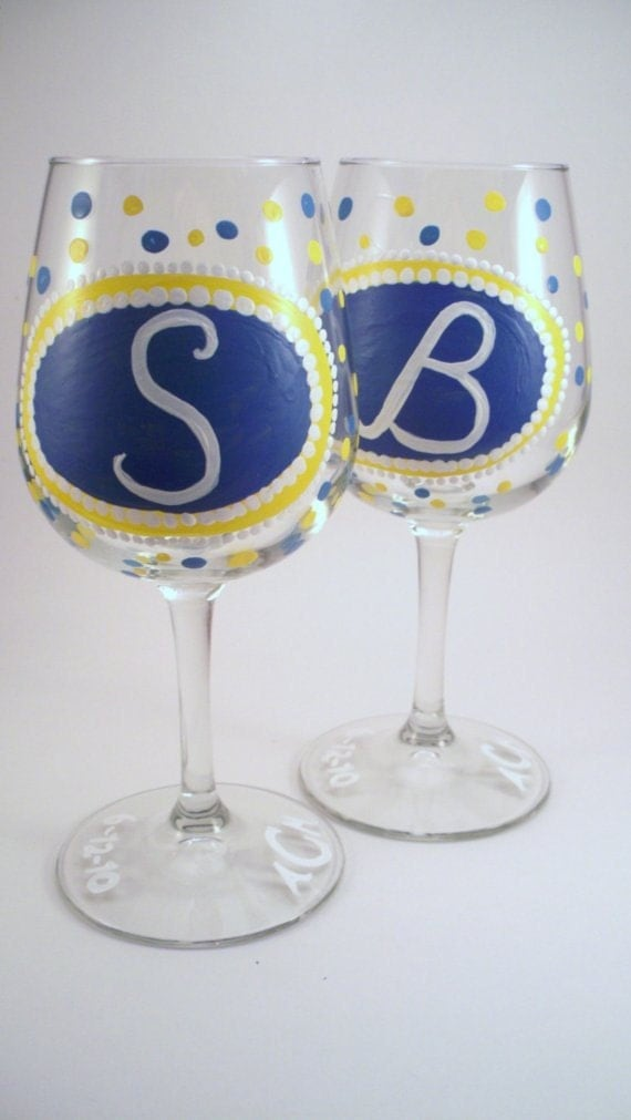 personalized hand painted wine glass with initials by raesmith