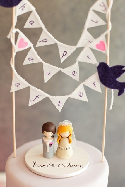 Fabric Happily Ever After Banner - Cake Topper