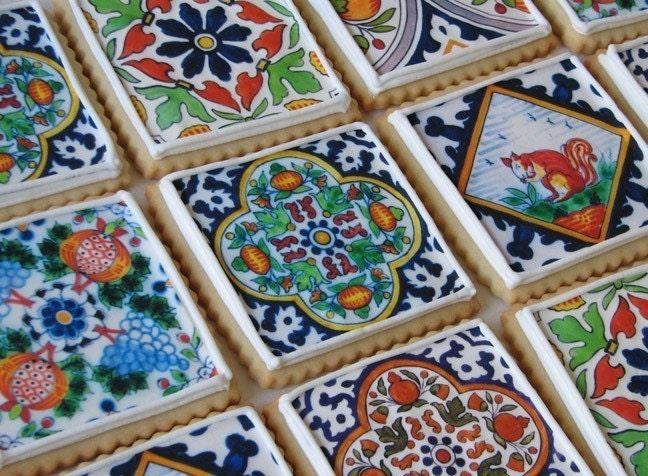Delft Tile Cookie Gift Box - One Dozen (Vanilla)