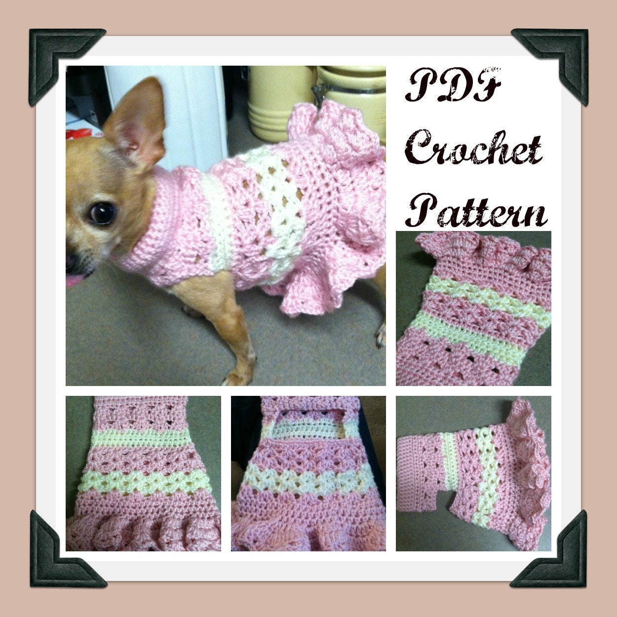 Crochet Dog Sweater Pattern Chihuahua : PDF Crochet Pattern Littlest Bo Peep Crochet Dog by ...