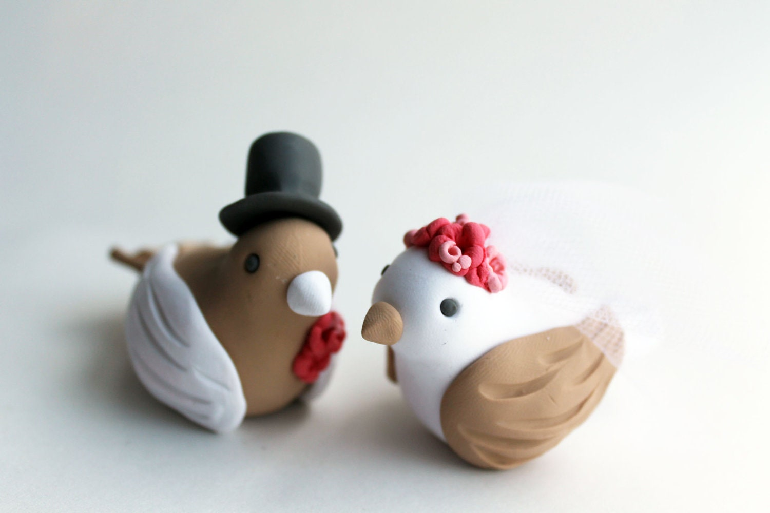 Coral and Tan Love Bird Wedding Cake Topper - With Top Hat and Veil - Custom Colors - CherryRedToppers