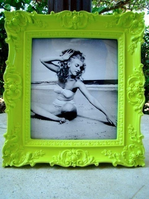 Lime Green Ornate Vintage Style Picture Frame 5X5.5