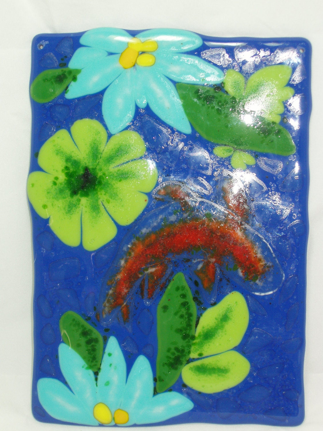 Koi fish full fused glass 6 x 8 wall by picturethiskathileal for Koi wall hanging