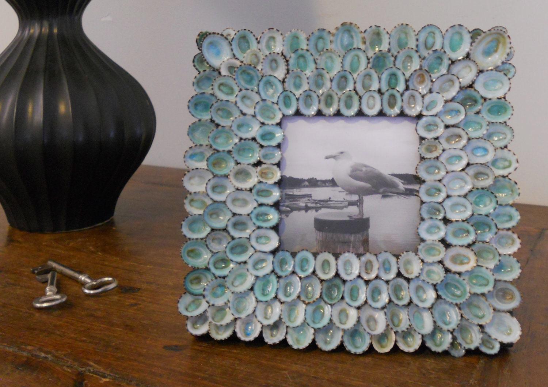 Ручной голубые раковины фоторамка 8 х 8 дюймов - Миртос MEDIUM