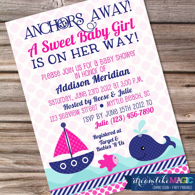 printable baby shower invitation nautical sweet baby girl design