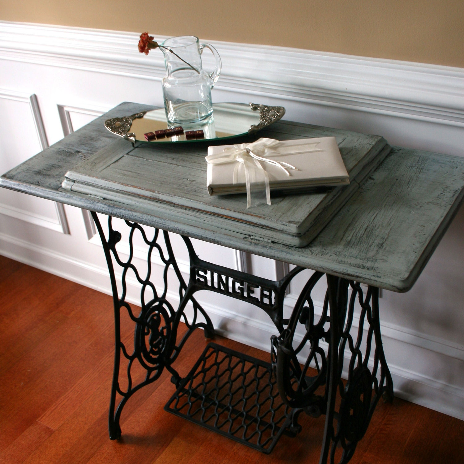 Wedding Guest Book Table. Grey Blue Entryway Table School Desk. Singer Treadle Sewing Machine Table. Country. Farm House Rustic. Industrial.