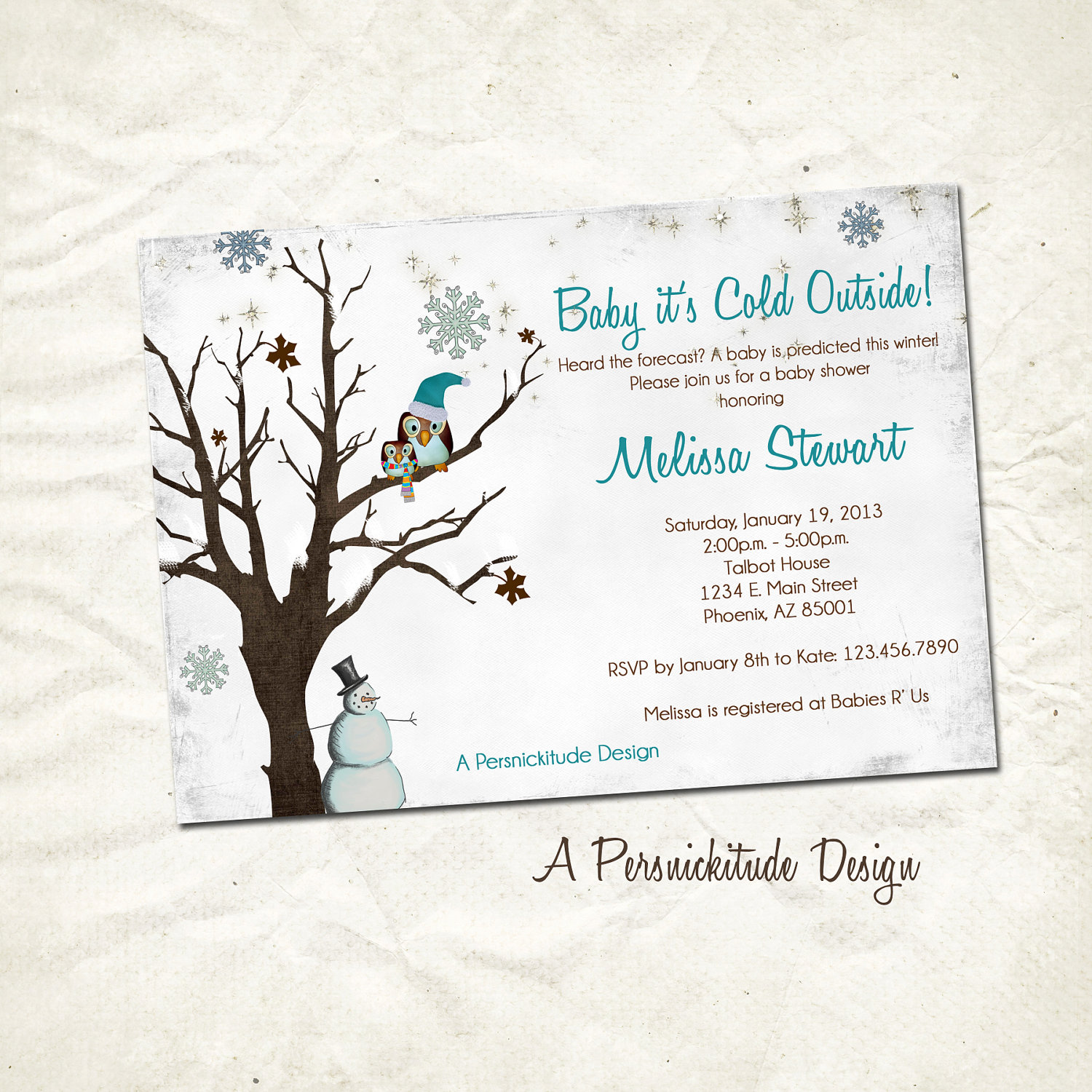 winter snowflake baby shower invitation print by persnickitude