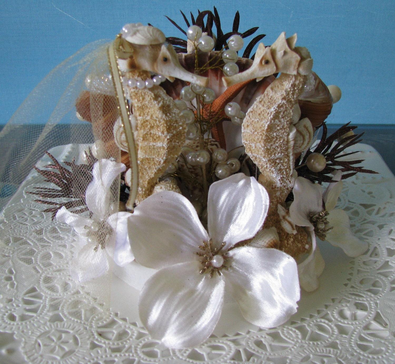 Beach Wedding Cake Topper Seahorse Wedding By Ceshoretreasures