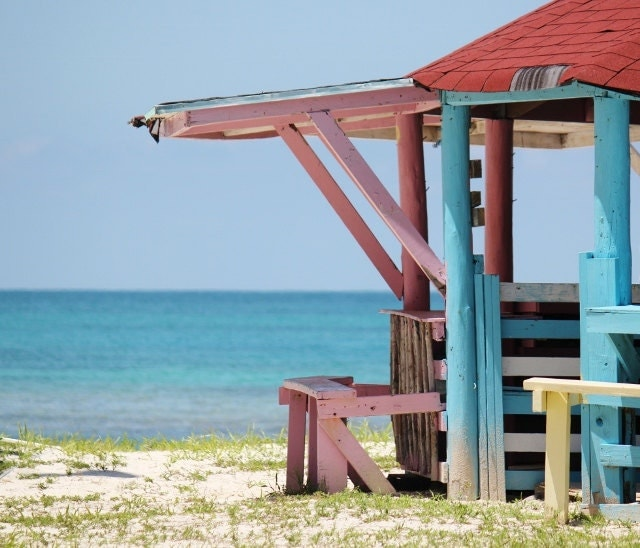 Colorful Beach Hut, Bahamas Ocean Photography - LongForgotten
