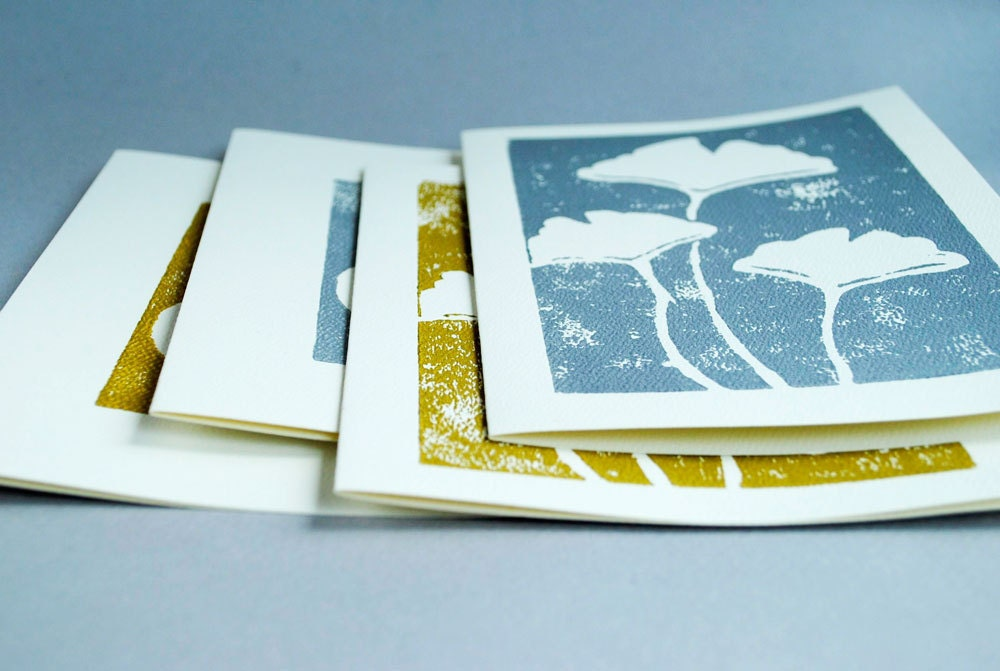 Four Silver and Gold Special Occasion Wedding or Anniversary Notecards