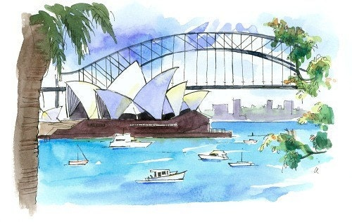 Watercolor Sydney Opera House
