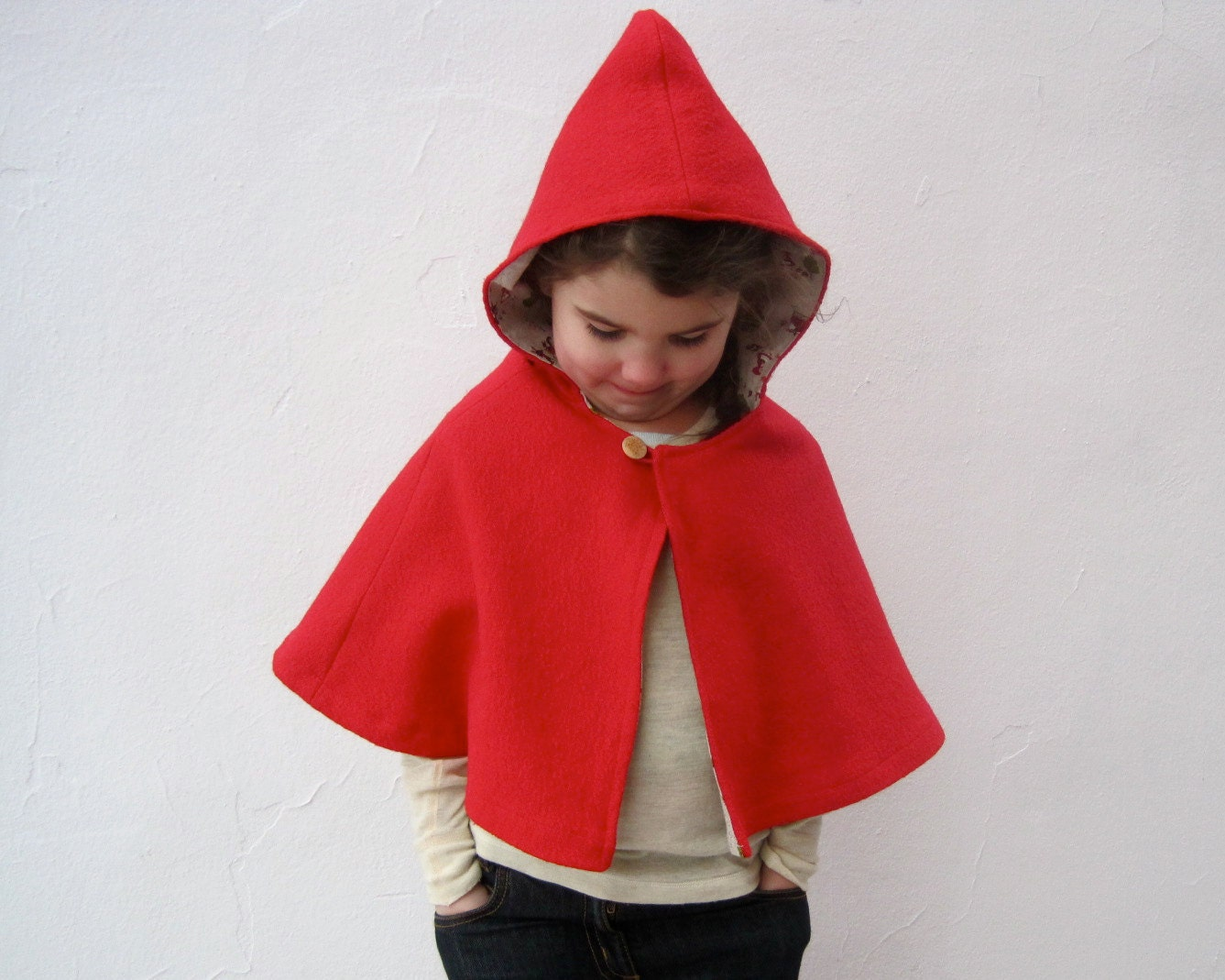little red riding hood girls cape size 3T to 5T / boiled WOOL shrug with Japanese cotton lining / kids fashion - SewnNatural