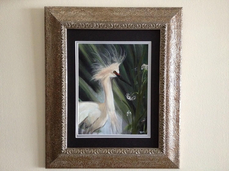 white egret 9 x 12 canvas in a 16 x 20 gold by bobbibryersarts. Black Bedroom Furniture Sets. Home Design Ideas