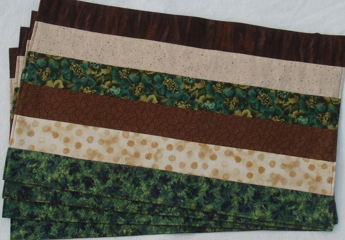 Etsy :: Earth Brown Beige and Olive Green Set of 4 Placemats