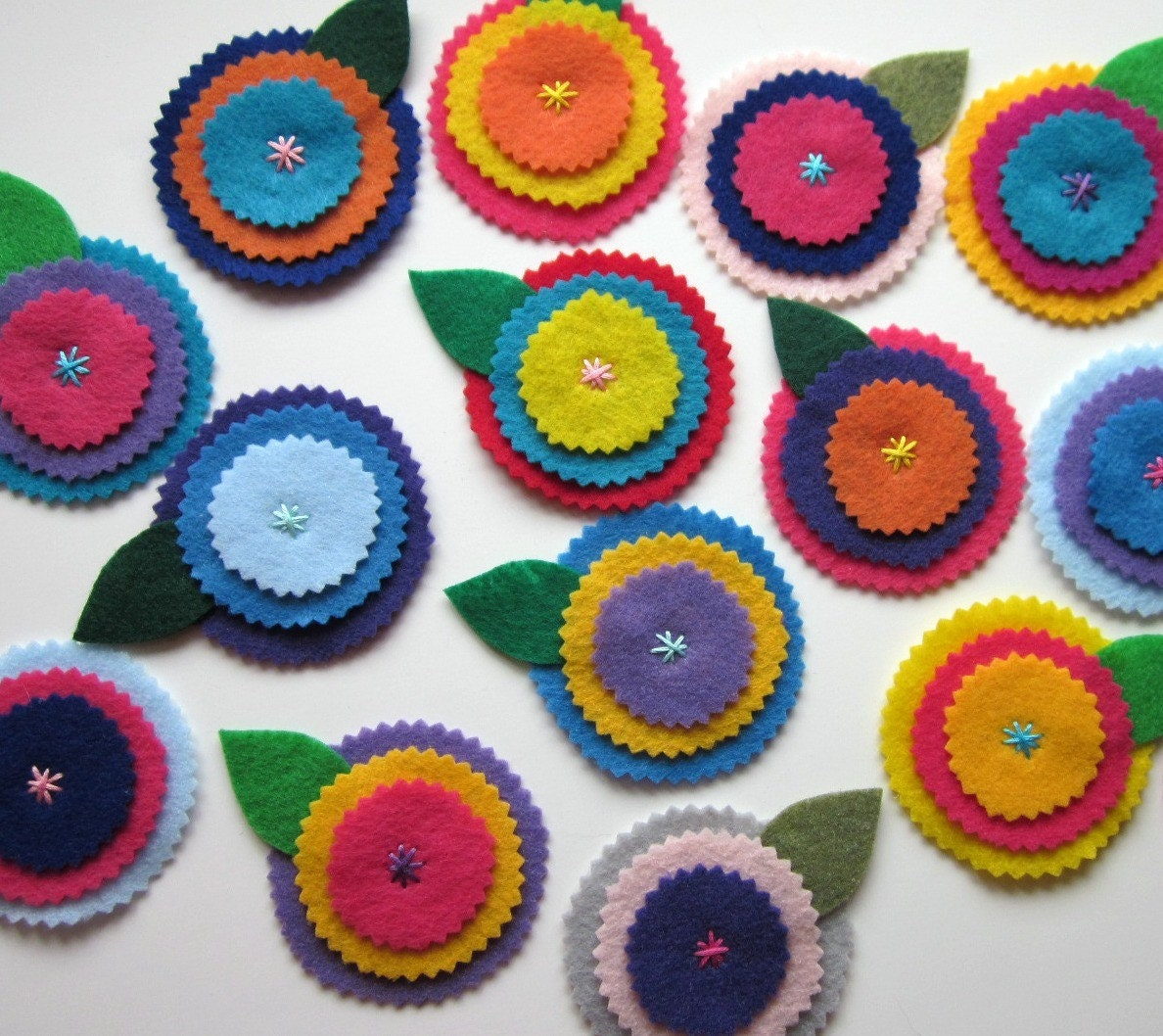 Eco Felt Flower Embellishment Scrapbooking Applique Set of 4 ASSORTED