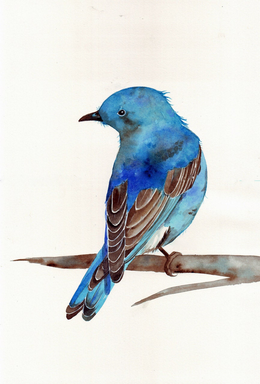 Bluebird ART Large print of watercolor painting
