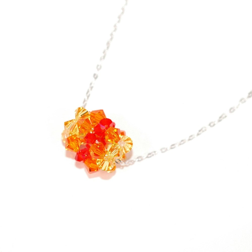 Tiny Orange Fire Beaded Bead Necklace