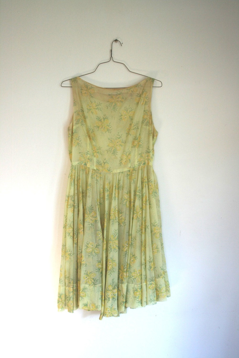 Ethereal Floral Yellow Garden Party Dress - M/L