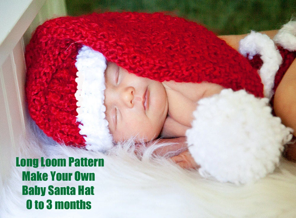 Knitting Pattern For Infant Santa Hat : Knit baby Santa hat loom pattern