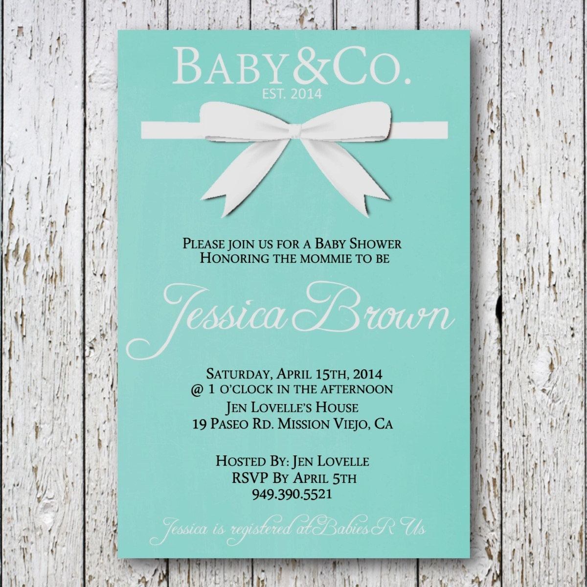 Baby and Co baby shower invitation Tiffany by SimpleDevineDesign: www.etsy.com/listing/181503703/baby-and-co-baby-shower-invitation