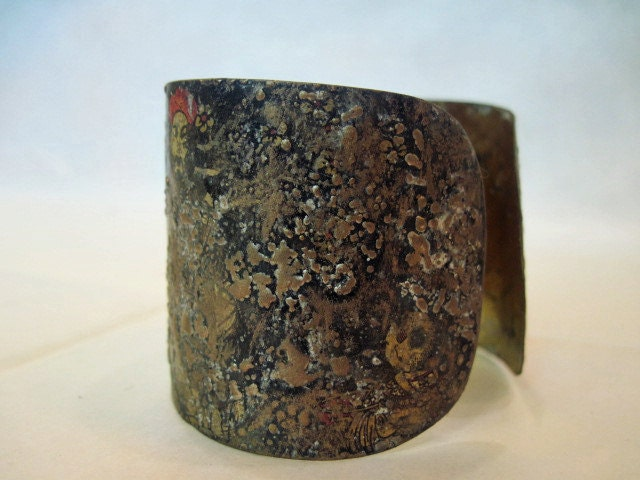 Twins. Recycled Rustic Tea Tin Cuff Bracelet.