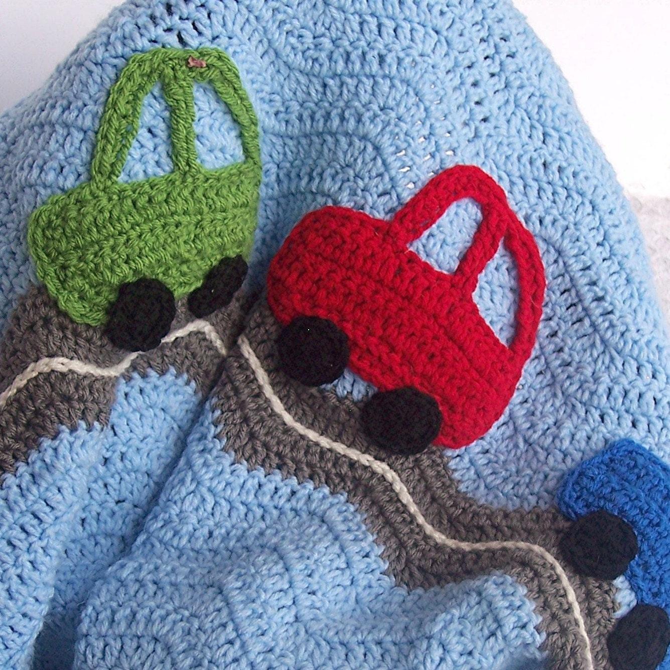 Crochet baby blanket car crochet ripple afghan blue gray ripple