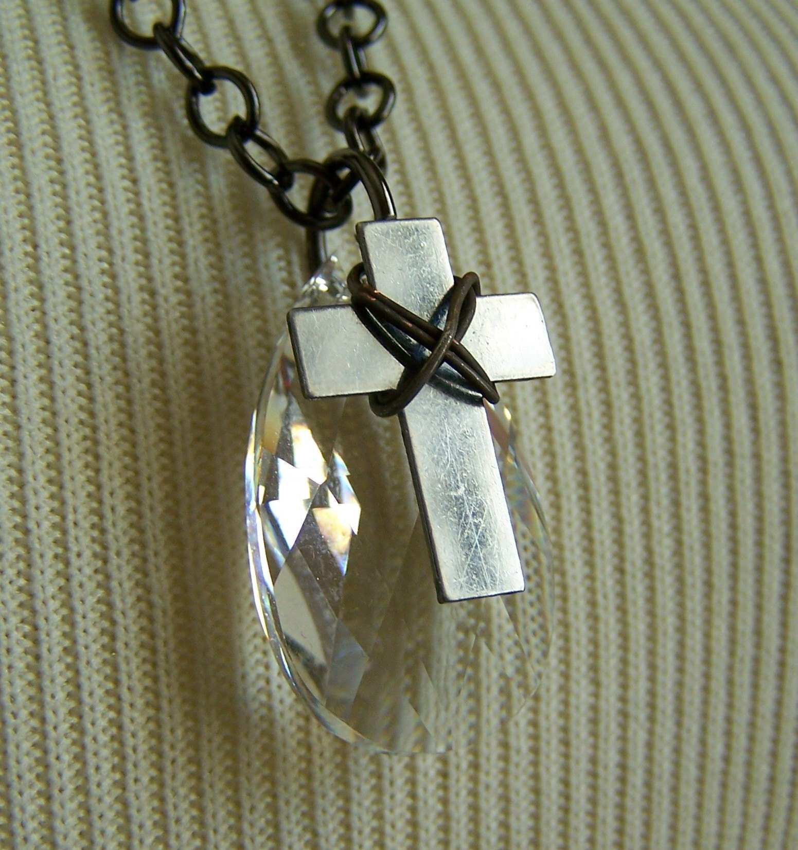 Silver Crystal and Cross Necklace