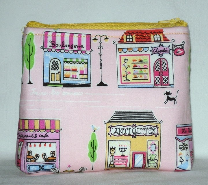 Foire Les Courses --- Streets of Paris Square Clutch (Baby Pink) by WolfBait on Etsy