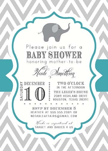 and teal chevron elephant baby boy baby shower invitation colors