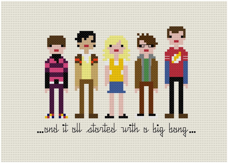 Pixel People - The Big Bang Theory - PDF Cross Stitch PATTERN