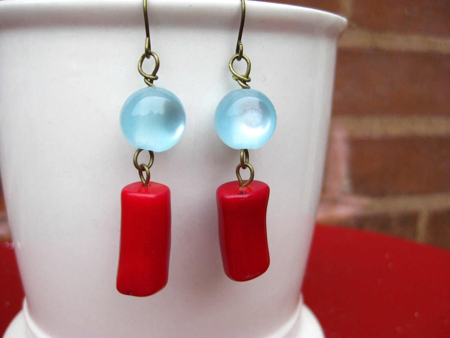 Coral Earrings, Light Blue Glass Beads