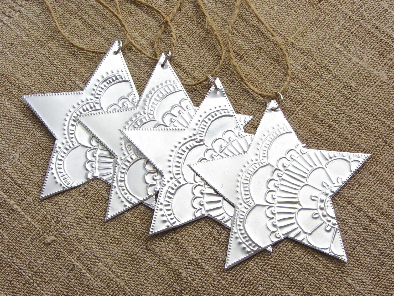 Christmas star ornaments silver mexican tin boho by for Mexican christmas ornaments crafts