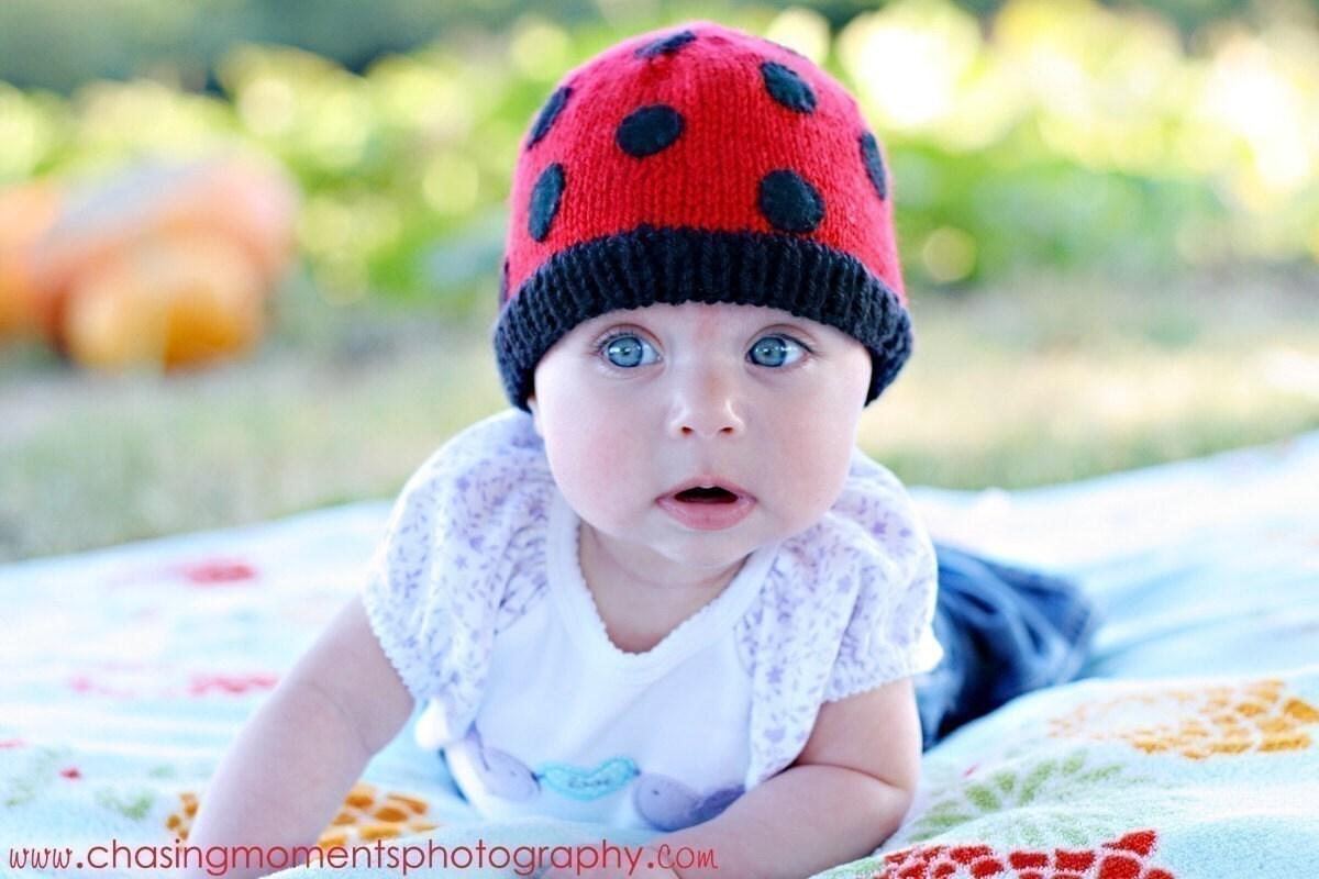 LADYBUG BEANIE Newborn Size-MADE TO ORDER