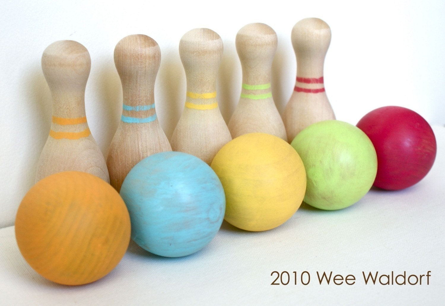Wee Wooden skittles play set. Choice of color. With Acorn Pouch.