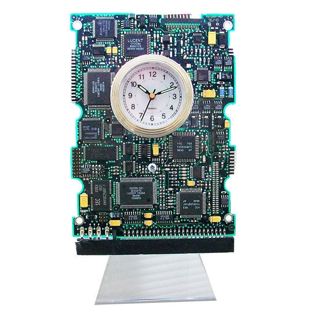circuit board clock with alarm from a recycled computer by