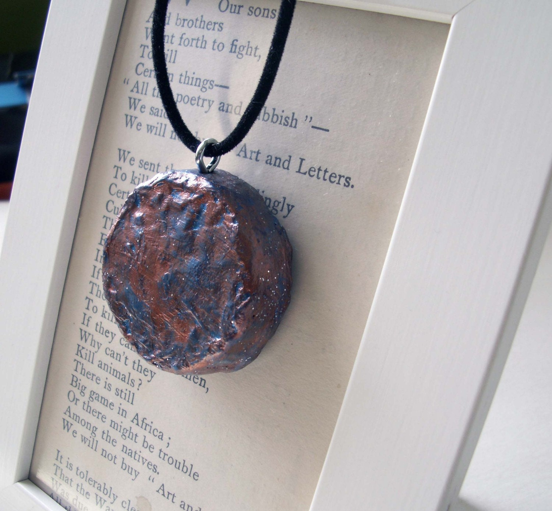 Синий медь - пенопласт искусства Ожерелье