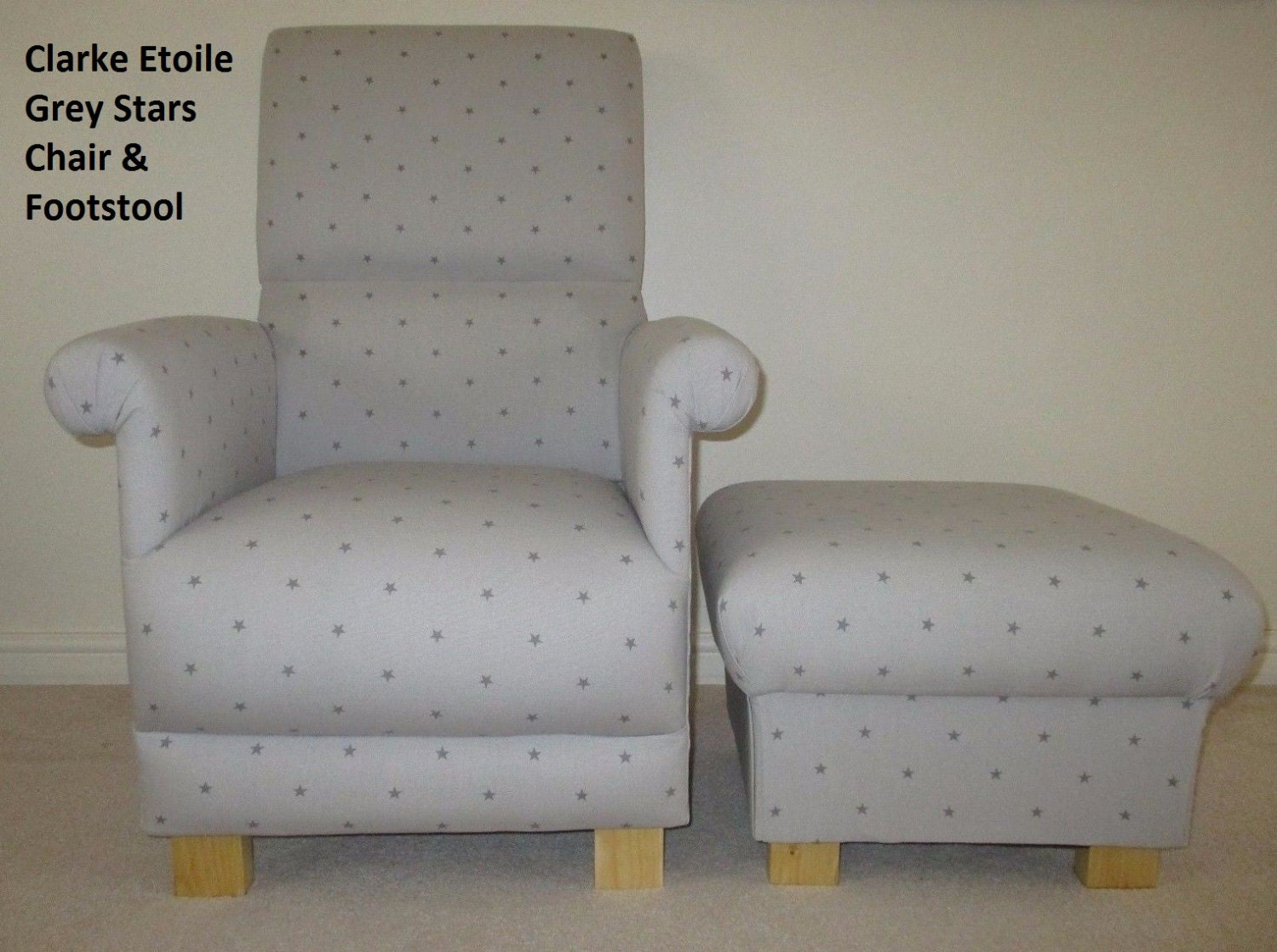 Clarke  Clarke Etoile Stars Fabric Adult Chair and Footstool Grey or Linen Beige Armchair Footstall Nursery