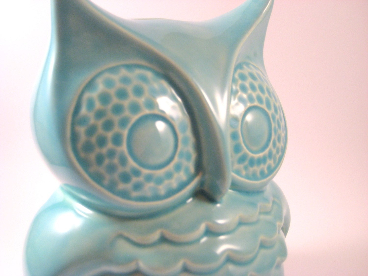 Vintage Ceramic Owl Coin Bank, Turquoise