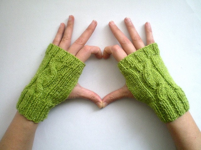 Sparkling Green Cable Knitted Mitten, Fingerless Gloves, Holidays Valentines Gift Under 25 Gift for mom