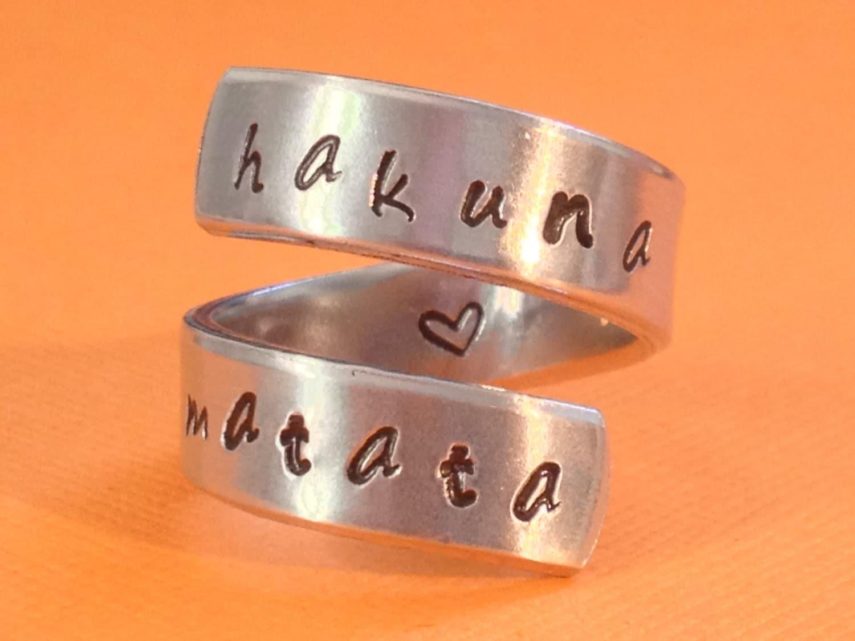 Hakuna matata ring heart inside adjustable aluminium wrap ring style c handed stamped ring - Signification hakuna matata ...